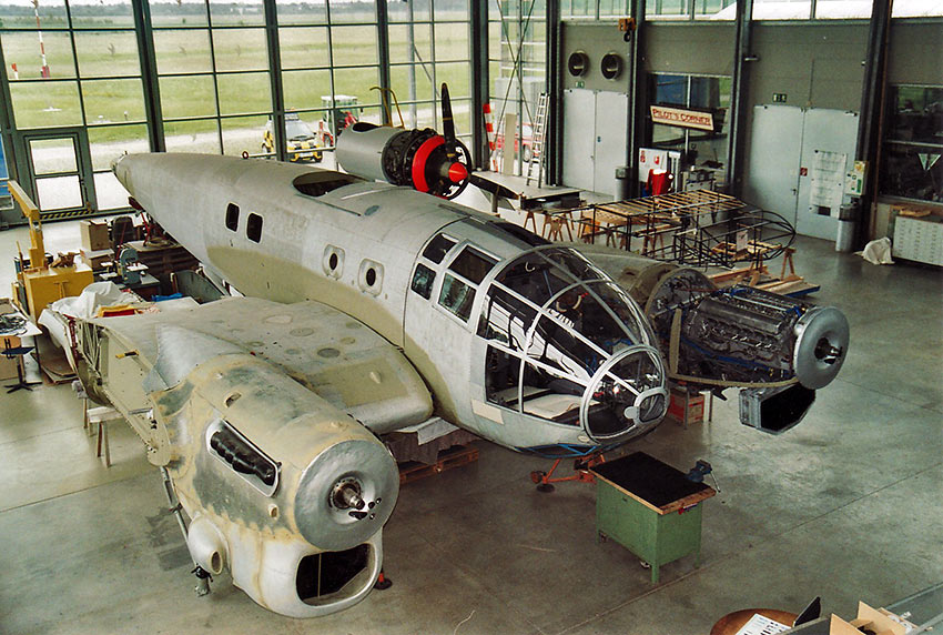 Heinkel 111 being reconstructed at the Oberschleissheim Airfield