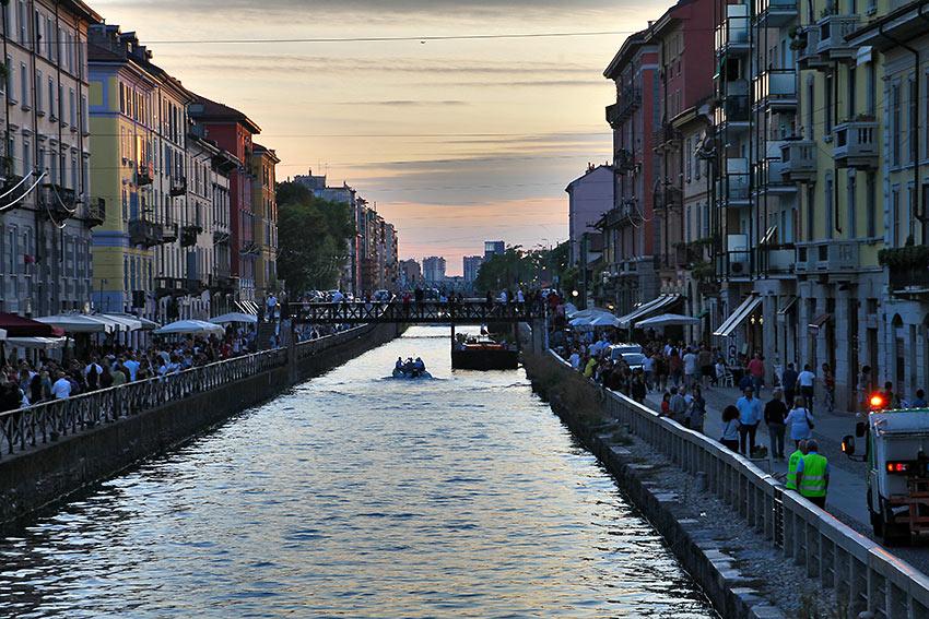 a Milan canal at dusk