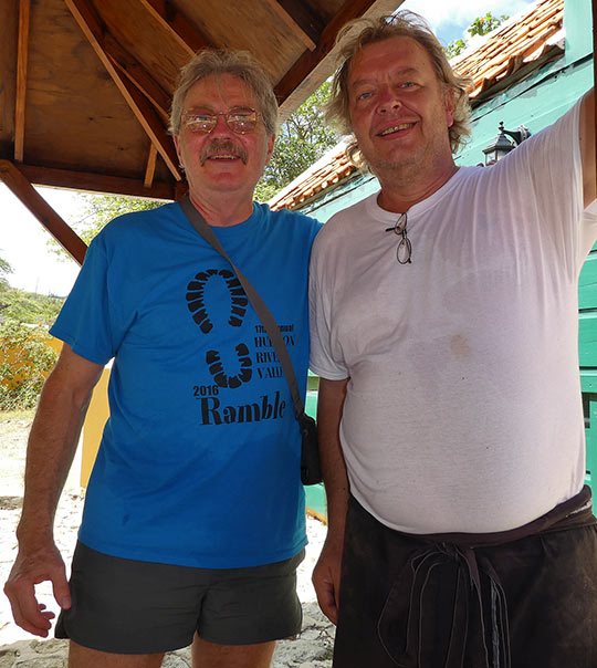 Richard Frisbie with Chef Taco at the Cactus Cafe, Curacao