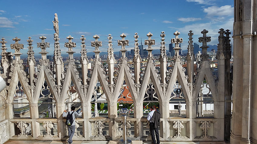 view of the city from the top of the Duomo de Milano's terrace