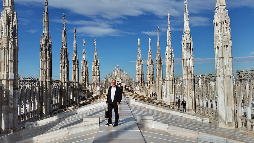 the writer at the top of the Duomo de Milano's terrace