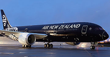 Air New Zealand plane on runway