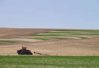 combine on a Palouse field