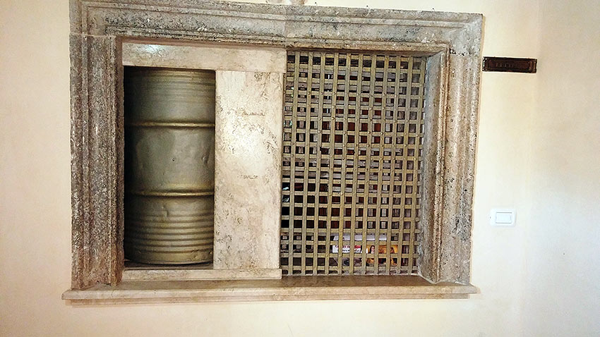 revolving mesh door for selling marzipan at a Benedictine cathedral