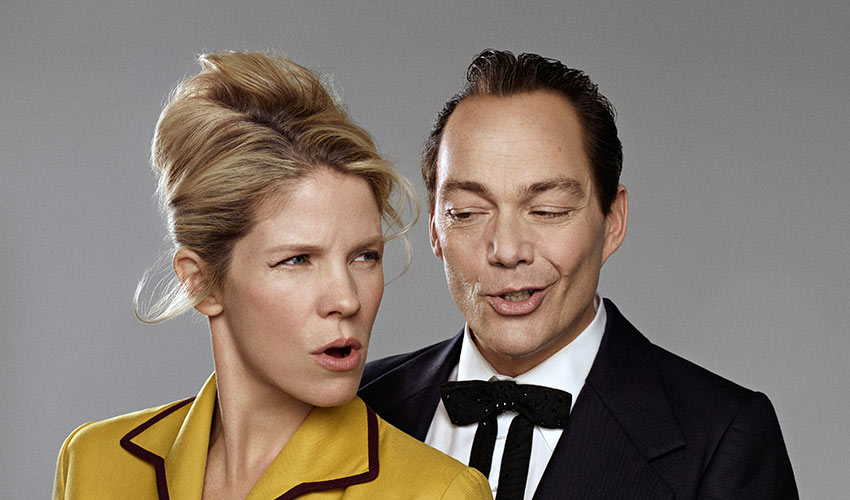 Kelli O'Hara as Despina and Christopher Maltman as Don Alfonso in Mozart's Così Fan Tutte