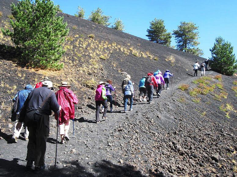 hiking up Mt. Etna