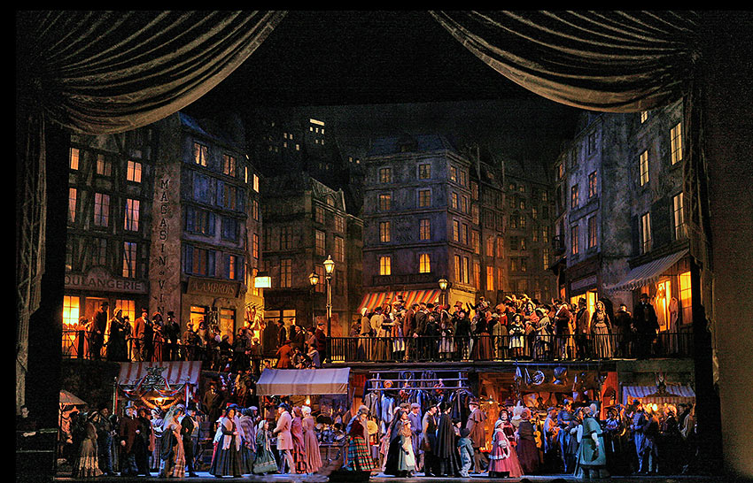 scene from Act II of Puccini's La Bohème