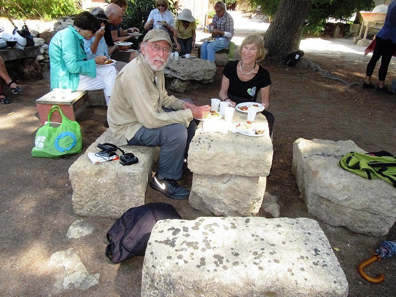 writer having lunch on 2700-year old Phoenician stones