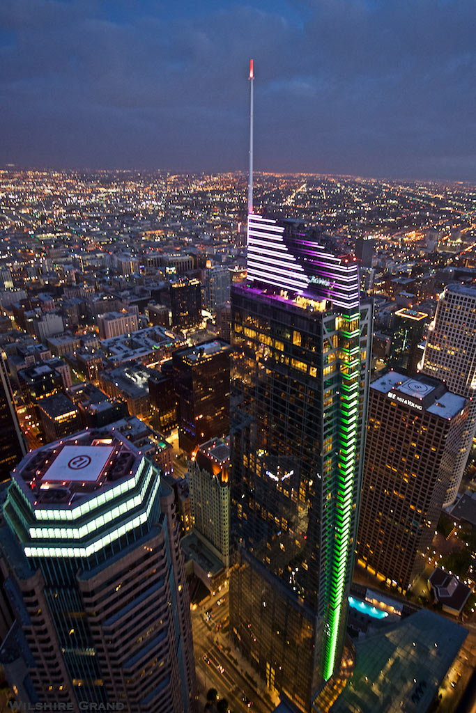 aerial view of the Wilshire Grand Center at night