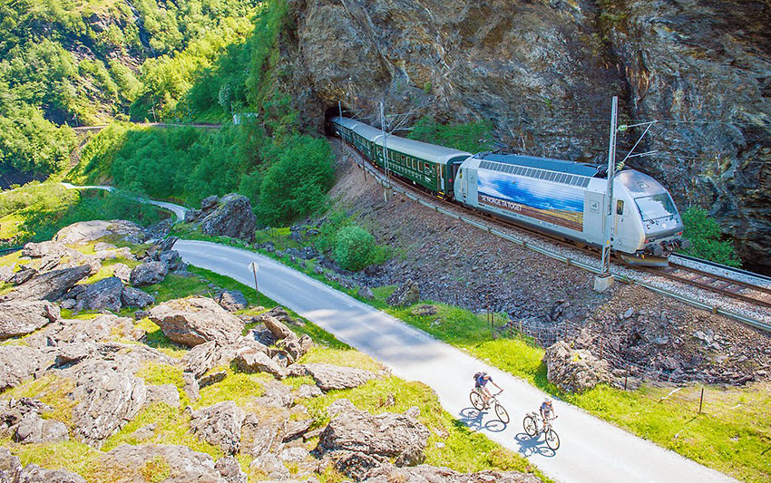Flam Railway train emerging from a tunnel