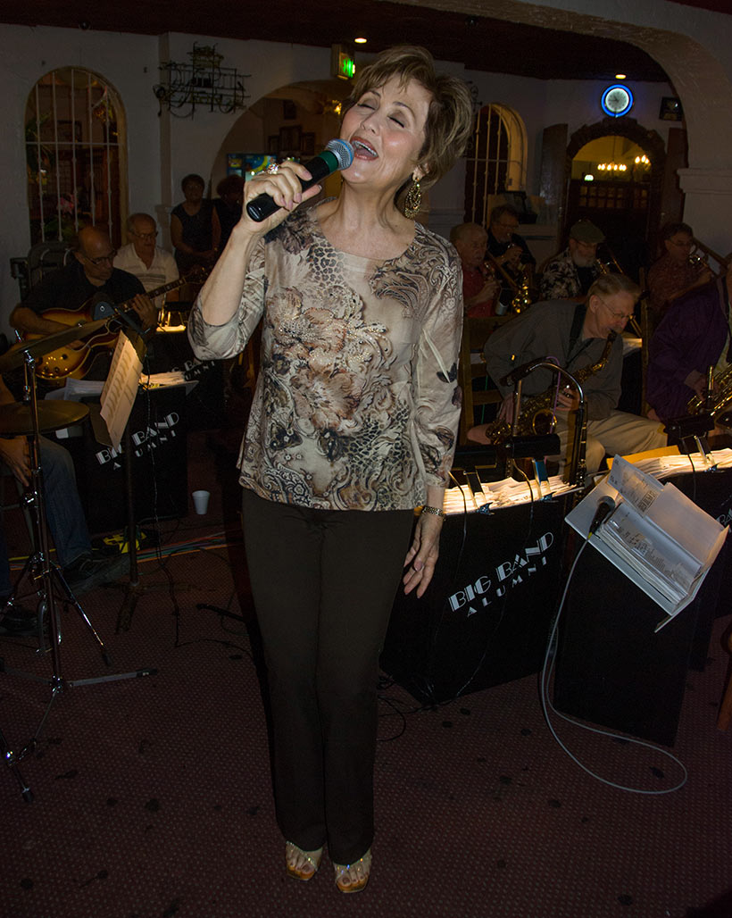 vocalist Bonnie Bowden performing with Johnny Vana's big band