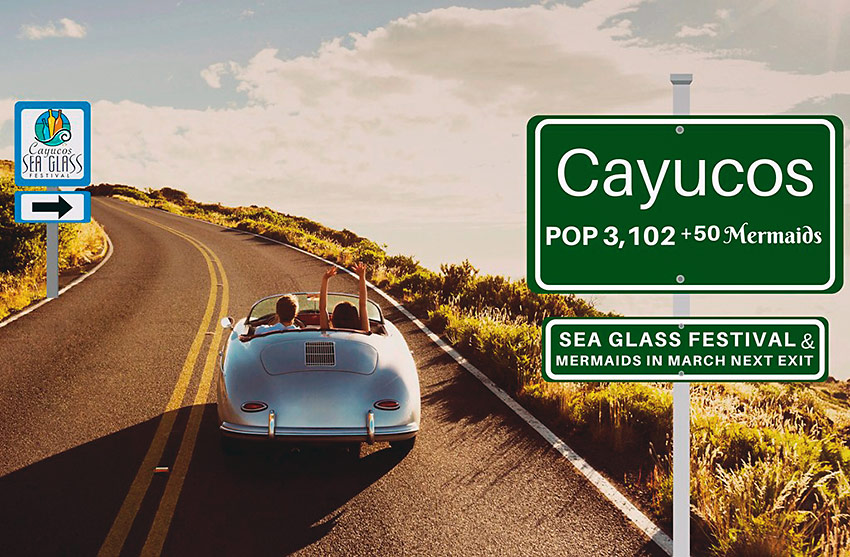 Cayucos and Sea Glass Festival road sign