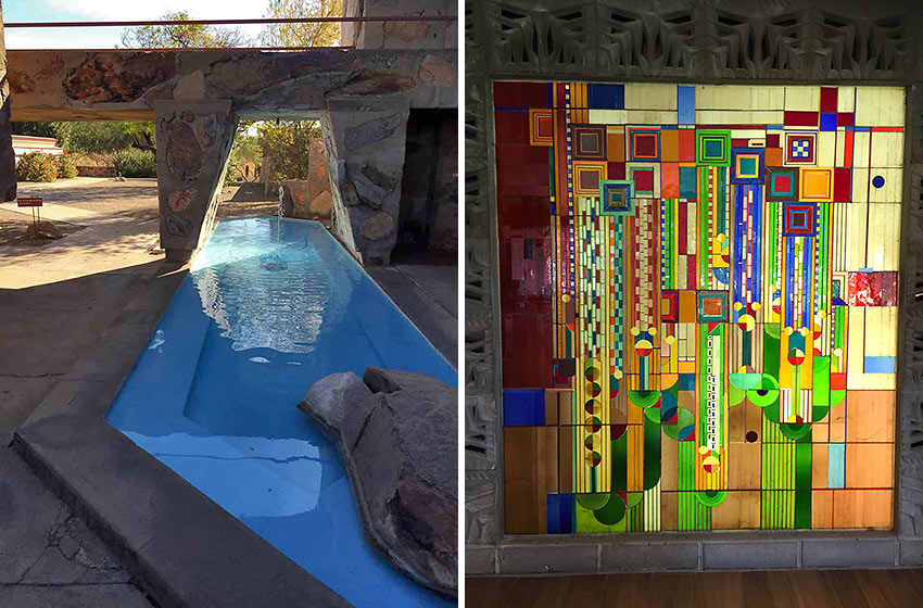 Wright utilized creative geometry at Taliesin West; stained glass window at Arizona Biltmore