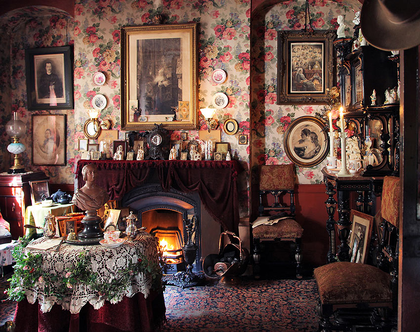 ornate room inside the Dennis Severs House