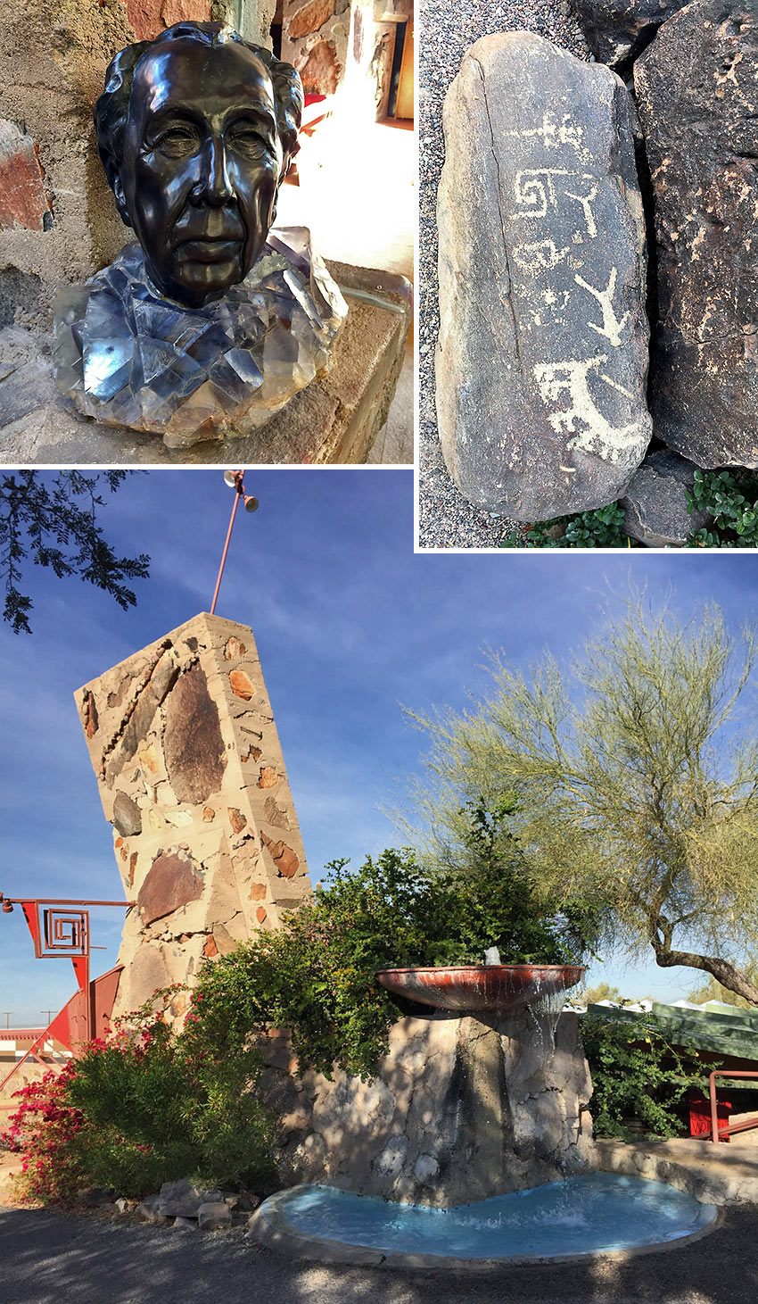 Frank Lloyd Wright's bust, Taliesin West and Petroglyphs