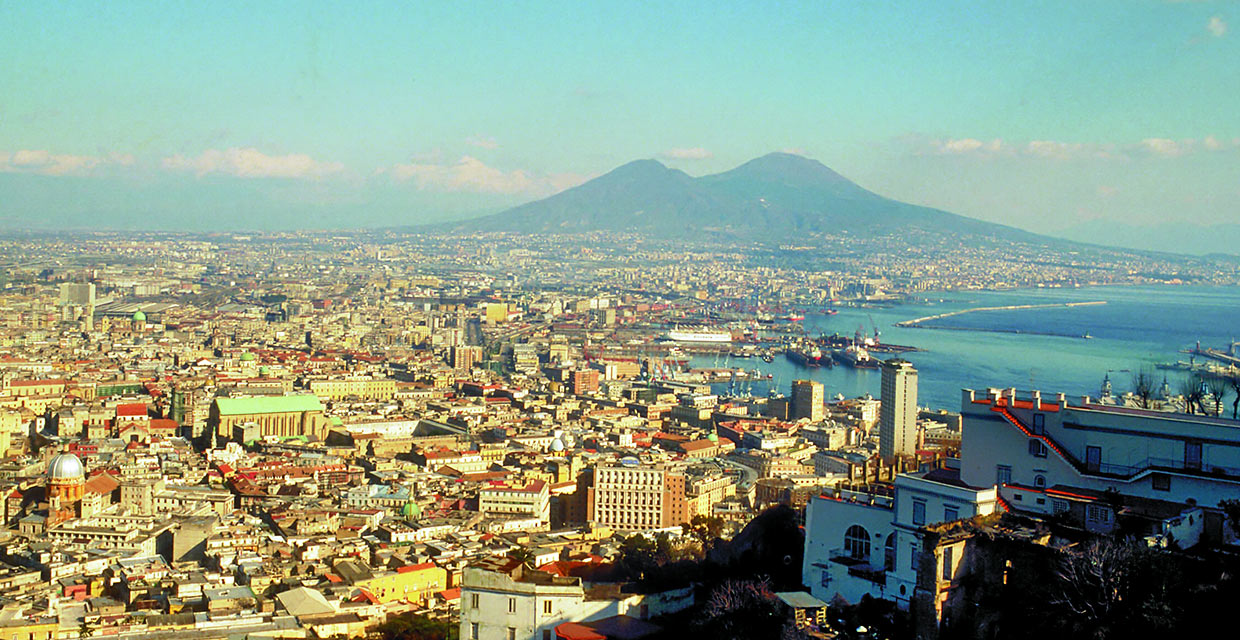 panoramic view of Naples, the Bay of Naples and Mt. Vesuvius