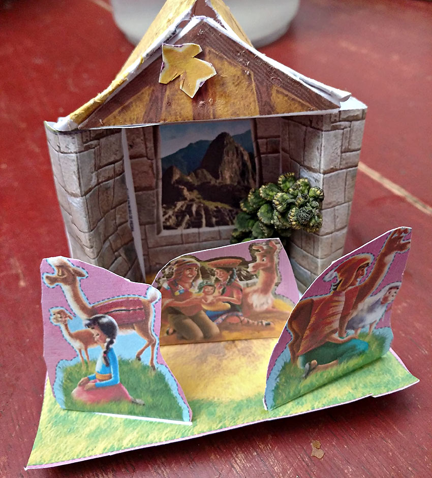 nativity set made by the writer's host family child for a school activity