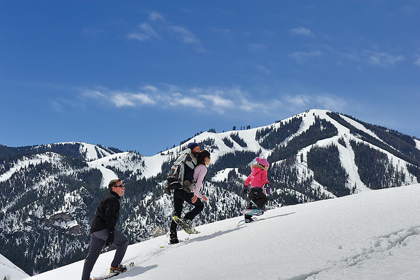 snowshoeing family at Sun Valley