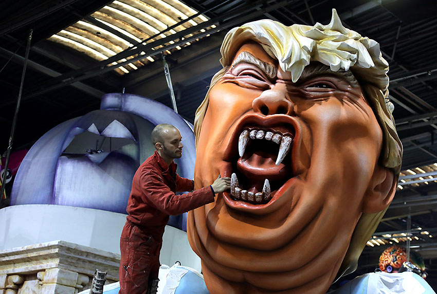 creation of a float featuring Donald Trump at a carnival in Nice, France