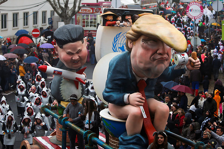 carnival chariot with figures of U.S. President Donald Trump and North Korean leader Kim Jong Un during a parade in Torres Vedras, Portugal