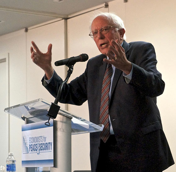 Bernie Sanders at a symposium for the Economists for Peace and Security