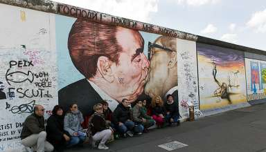 Bruderkuss (Fraternal Kiss) Graffiti at the Berlin Wall