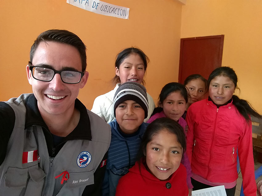 the writer with students from his weekly English workshop