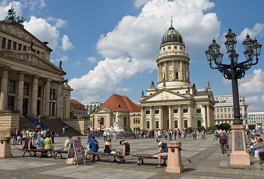 the French Cathedral and the Konzerthaus Berlin at the Gendarmenmarkt
