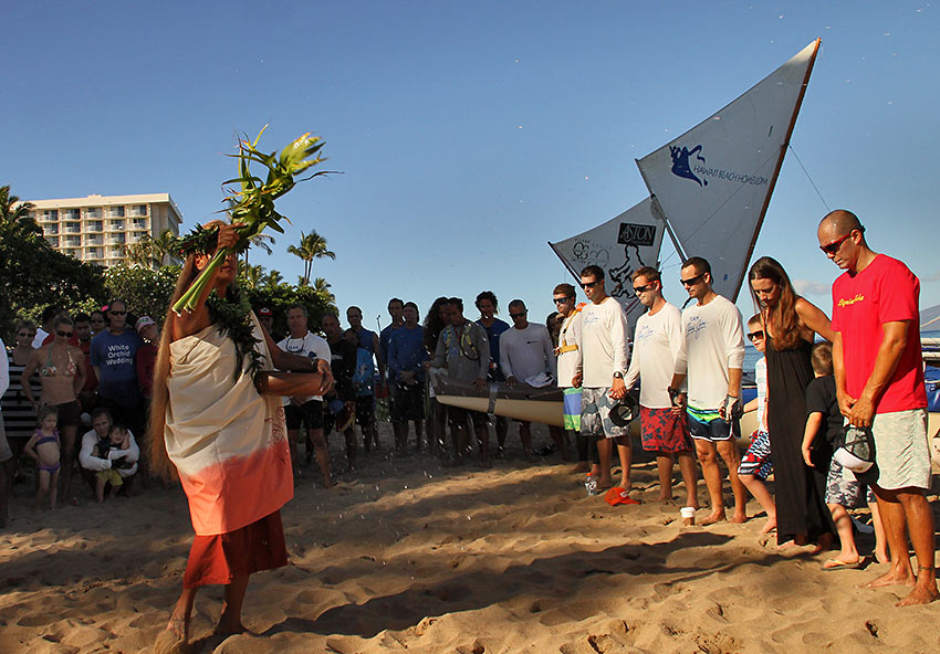 Hawaiian Cultural Practitioner gives a traditional blessing for crews and spectators