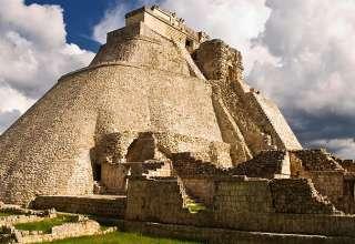 the Pyramid of the Magician, Uxmal Mayan Ruins, Yucatan, Mexico