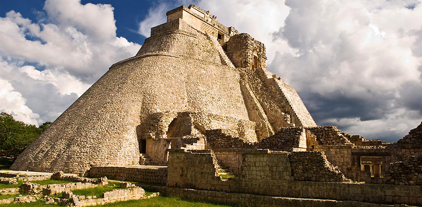 the Pyramid of the Magician, Uxmal Mayan Ruins, Yucatan, Mexico
