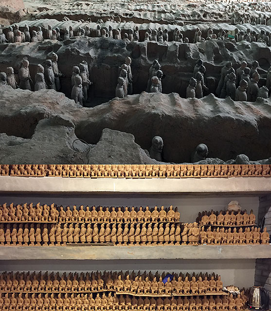 Terra Cotta Warriors in Xian and mass-produced replicas