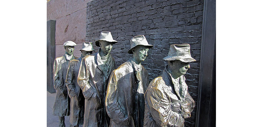The Breadline by sculptor Georg Segal, at the FDR Memorial