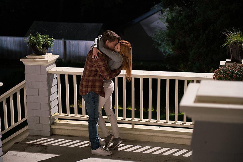 Patrick Schwarzenegger and Bella Thorne in a love scene