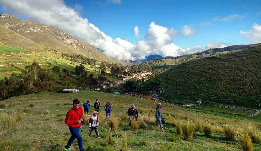 a hillside at Huaricolca