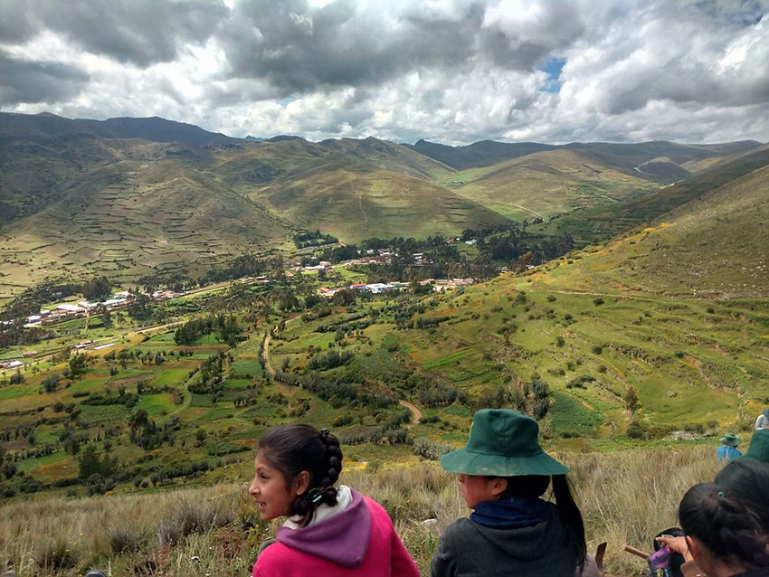 view of Huaricolca, Peru from a hillside