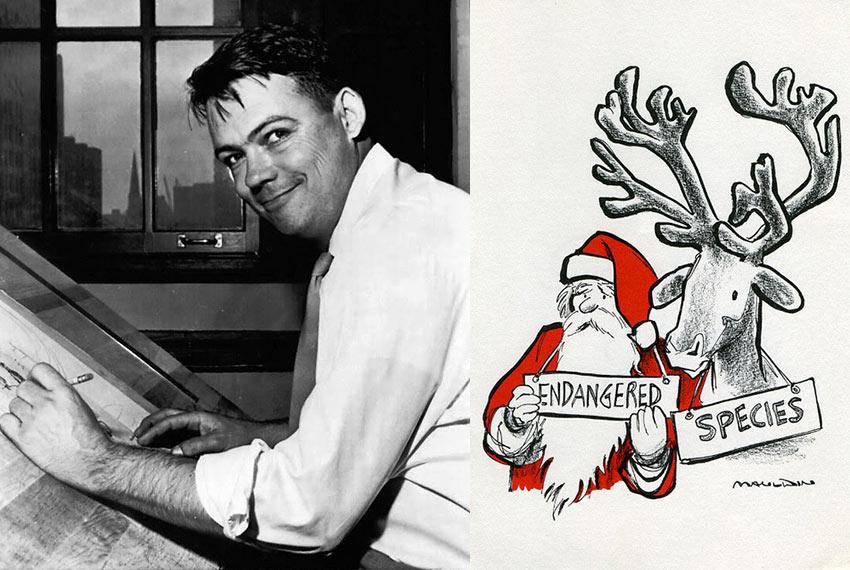 Bill Mauldin in 1952 and a post-war cartoon
