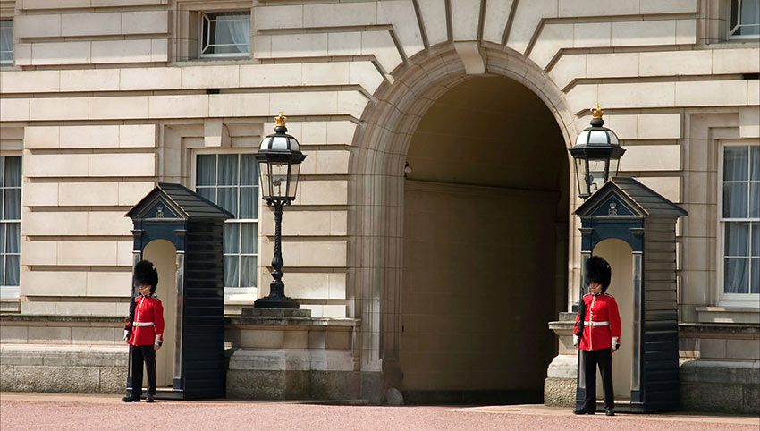 Two Grenadier Guardsmen at the Buckingham Palace exit