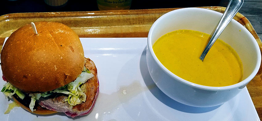 seared ahi burger and carrot and ginger soup at The Ivy Kitchen