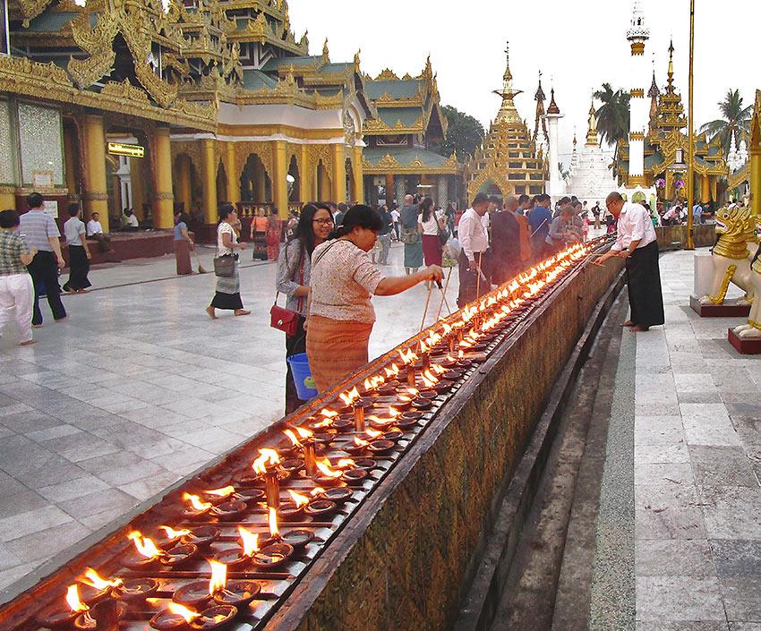 candle lighting ceremony at Yangon's Shwedagon Pagoda