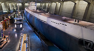 German submarine U-505 on display at the the Chicago Museum of Science and Industry