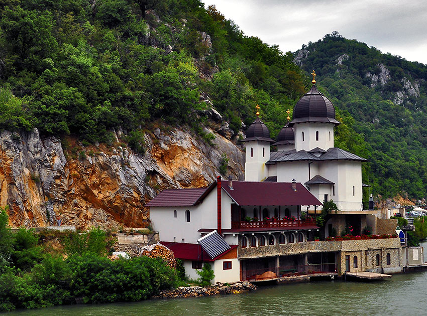 orthodox convent along the Danube on the Romanian side of the Iron Gates gorge