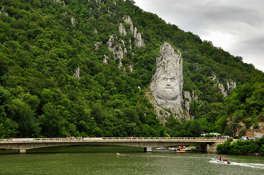 limestone face of King Decebalus by the Danube