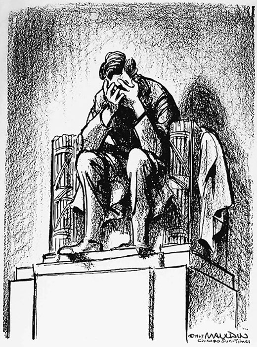 Mauldin cartoon: Lincoln weeps after the Kennedy assassination