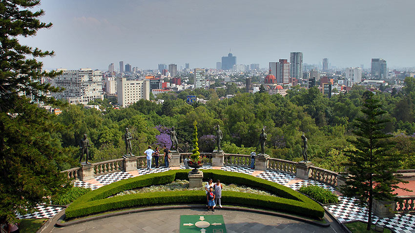 view of Mexico City from the Palace
