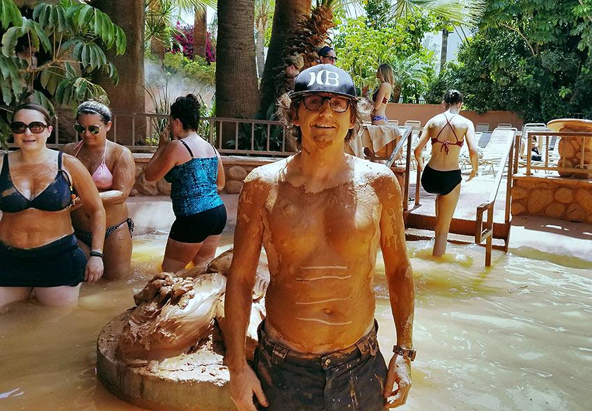 writer enjoying a mud bath at Glen Ivy Hot Springs