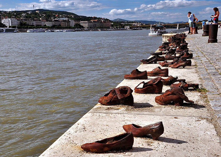 """Shoes of the Danube"" art installation, Budapest, Hungary"