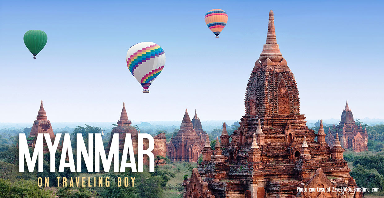 hot air balloons over Bagan temples