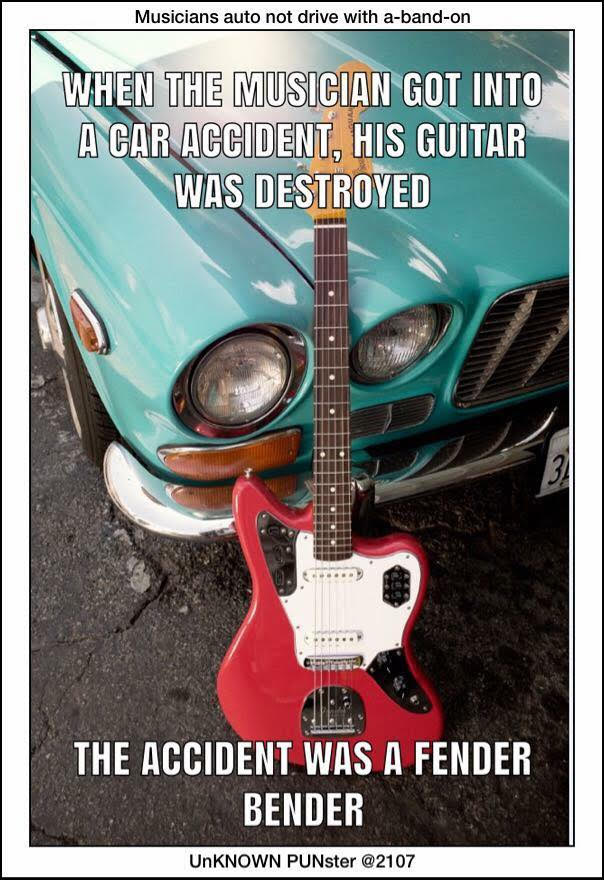 a musician's guitar in a car accident