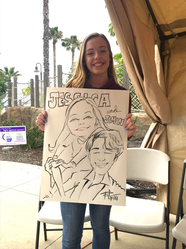 high schooler with caricature of her and Korean Boy Band BTS singer